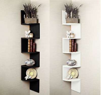 2/3/ 5 Tier Floating Wall Shelves Corner Shelf Storage Display Bookcase