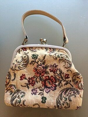 Vintage tapestry clutch handbag small Clasp Bag Faux Leather Trim VGC d6f78783609bd