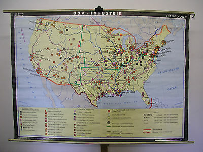 Schulwandkarte Map USA Industry Specially Card Us Oil Coal Gas 1985 166x119