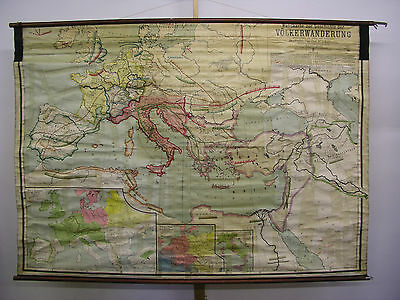 Schulwandkarte Europa Germanic Hike Nations Celts 217x153 Vintage Map~1920