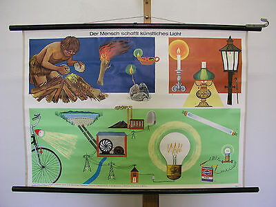 Beautiful Old Schulwandkarte Artificial Light Electric 90x64cm Vintage Map~1960
