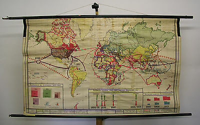 Schulwandkarte Beautiful Old World Map Politics 1815-1914 177x107 Vintage~1935