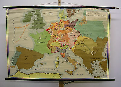 Schulwandkarte Beautiful Old Europa Germany Condition Resolution 140x96 ~ 1955