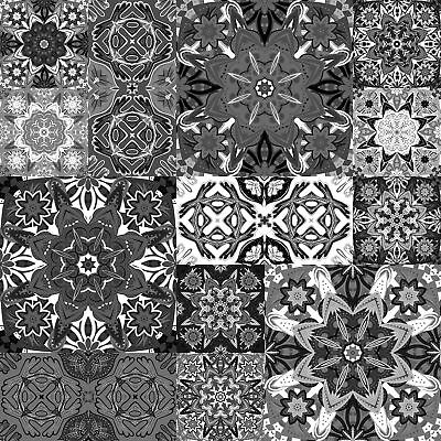 """4"""" Moroccan Style Grey Black White Tile Sticker Transfers Pack of 24 Adhesive"""