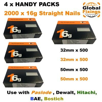 4 x Handy Packs 32mm+32mm+50mm+50mm-MIXED 2000 16g STRAIGHT Dewalt Paslode Nails