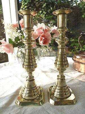 Pair Of Antique Victorian Solid Brass Candlesticks Beehive Style Wth Pushers 10""