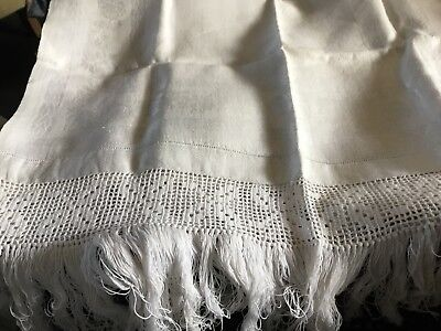Large Vintage Cotton Huckerback Handmade Lace Trimmed Towel Excellent Condition