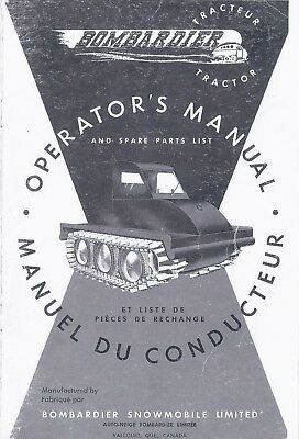"""Operator's Manual and Spare Parts List BOMBARDIER J-5 48"""" Tractor Sidewalk Plow"""