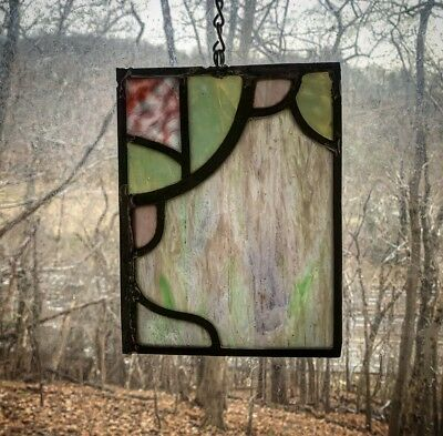 Architectural Salvage Leaded Stained Glass- Green and Pink, Red