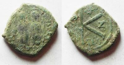 ZURQIEH -as9552- BYZANTINE EMPIRE. JUSTIN II & SOPHIA BRONZE HALF FOLLIS