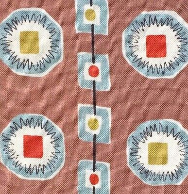vtg Mid-century Fabric 40s 50s Geometric Atomic Diy Eco Wall Art #1942