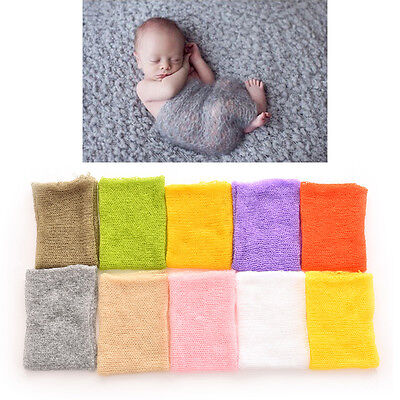 1PC Newborn Baby Boy Girl Mohair Wrap Knit Photography Prop Baby Photo G$CA
