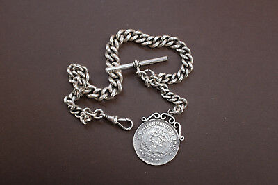VINTAGE 1897 VICTORIAN SOLID SILVER GRADUATED CURB ALBERT WATCH CHAIN 86 Grams