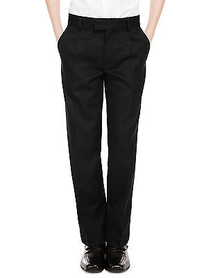 Age 2-16 Ex M&S Boys Regular Fit Black Charcoal Grey Navy School Trousers Pants