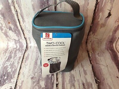 J L Childress Two Cool Double Bottle Cooler Gray/Teal~ New, no Ice Pack