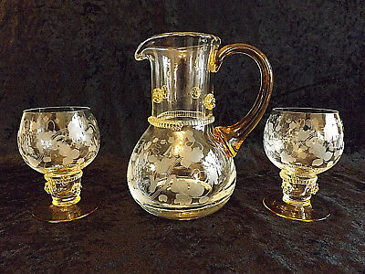 Antique Late Victorian German Wine Jug & Pair of Roemer Wine Glasses with Prunts