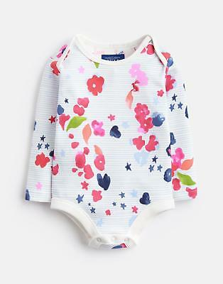 Joules Baby Snazzy Printed Bodysuit in Inky Floral Stripe