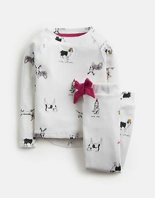 2e796a80a1 Joules Girls Sleepwell Long Sleeve Top And Trouser Set in WHITE XMAS DOGS