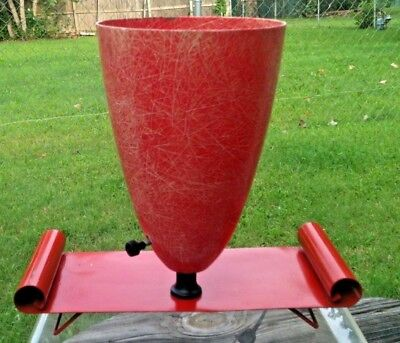 Vintage Mid Century Modern Fiberglass Table Top TV Cone Lamp Red Tone Metal Base