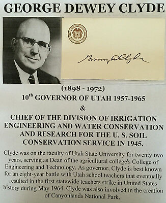 10th GOVERNOR OF UTAH US SOIL CONSERVATION WATER CHIEF ENGINEER AUTOGRAPH SIGNED