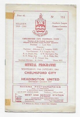 Chelmsford City V Headington United 1960 Southern League Fa Cup England