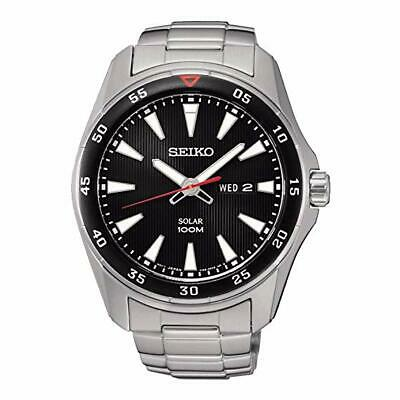 Seiko SNE393P1 Solar 100mwr Stainless Steel Day/Date 100m WR Watch  RRP £199