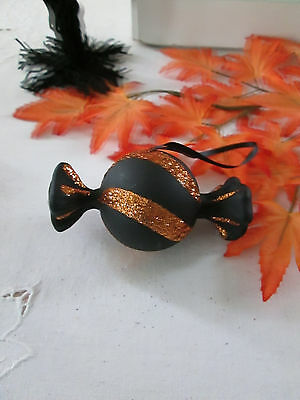 """Simply Halloween 2"""" x 3.5"""" Black with Orange Stripe Candy Ornament, New"""