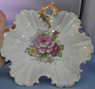 Napco Original Handpainted China Dish  S830 Floral Decoration with Pink Rose