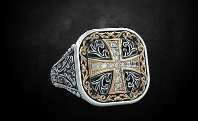 0.4 Ct Ring With Patterns And A Cross Ancient Stylish Men's Biker In 925 Silver