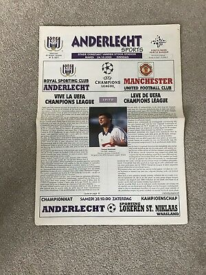 Anderlecht V Manchester United Champions League Newspaper Fa Cup England Belgium