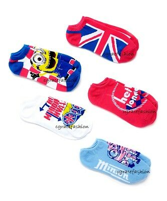 Despicable Me Minion Invasion Girl 5Pk Pink White Blue Ankle No Show Socks 6-8.5
