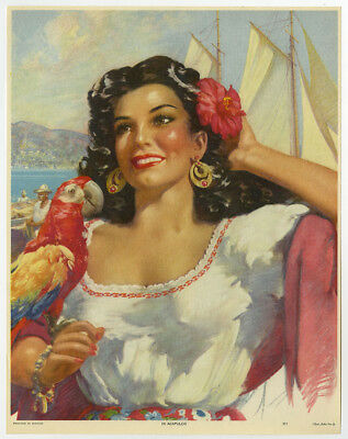Vintage 1940s Mexican Pin-Up Print Mexicanidad Raven Beauty Acapulco w/ Parrot