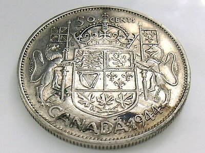 1944 Canada 50 Fifty Cent Half Dollar George VI Canadian Circulated Coin I299