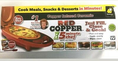 Red Copper 5 Minute Chef Electric Cooker Pan Hot Plate Meal Maker