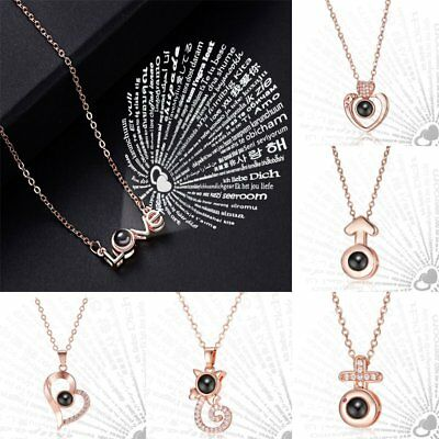 100 Languages I Love You Projection Pendant Necklace Love Memory Wedding Gift