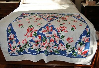 Vintage Colorful 40s 50s Tablecloth Magnolia Blossoms Red Blue On White 48 x 49