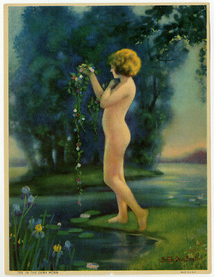 Antique 1920s Pin-Up Print Dorian Basabe In The Dewy Morn Maiden In Nature Fine