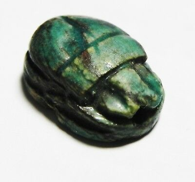 ZURQIEH -as10328- ANCIENT EGYPT.  GLAZED STONE SCARAB. 1300 B.C
