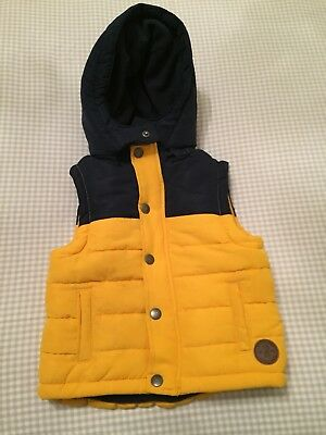 Boys Mustard And Navy Gilet/ Body Warmer 18/24 Months