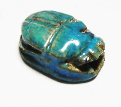 ZURQIEH -as10334- ANCIENT EGYPT.  GLAZED STONE SCARAB. 1300 B.C