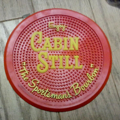 Old CABIN STILL The Sportsman Bourbon WHISKEY Round ADVERTISING Rubber BAR MAT