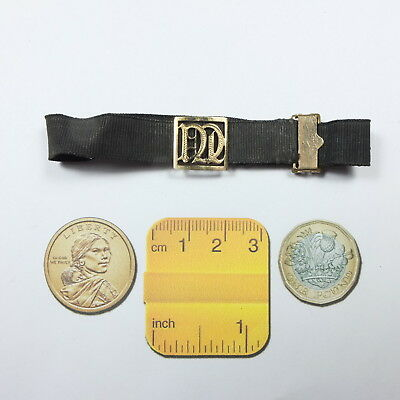 Antique Victorian 9ct Gold Initial Letter D? Mourning Ribbon Bracelet & RG Clasp