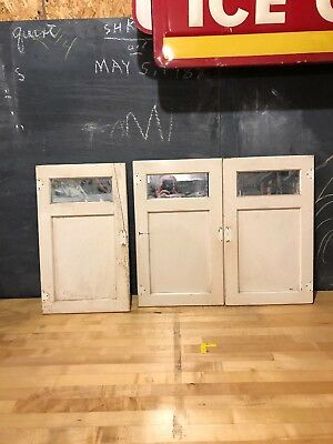 Lot Of 3 Original Antique Top Cabinet Doors With Mirrors Off A McDougall Hoosier