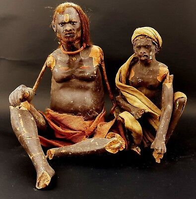 Two Antique 19th Century Indian Company School Terracotta Figures