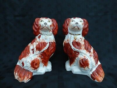 Pair of Antique, Victorian Wally Dogs, Mantle Dogs