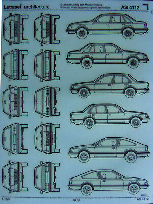 LETRASET ARCHITECTURE Transfer sheet OPEL CARS scale 1 : 50 (AS 4112) NEW