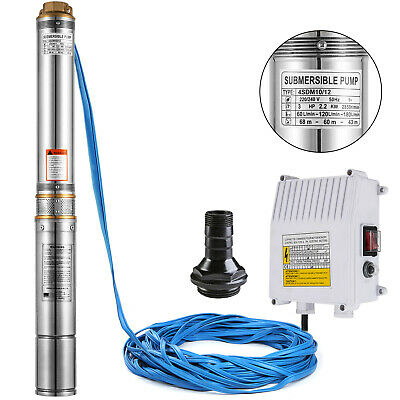 "4"" SUBMERSIBLE BOREHOLE DEEP WELL WATER PUMP 70m 230V 2.2kW LONG LIFE"