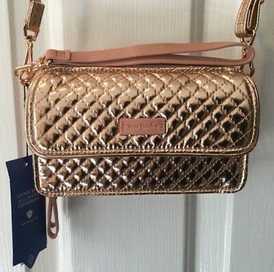 5874858625 Nwt Vera Bradley Iconic Rfid All In One Crossbdy-Rose Gold Shimmer-23684-