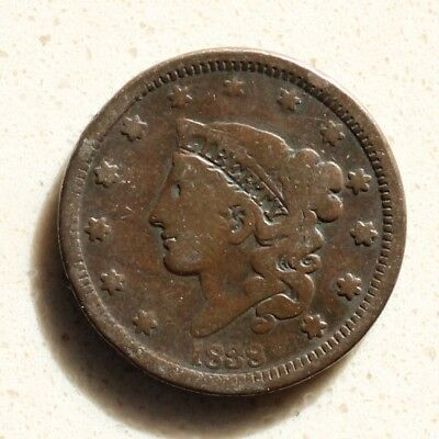 1838 Coronet Head Large Cent Beautiful Coin Rare Date