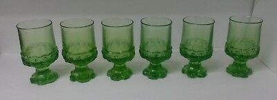 MCM Crystal Tiffin Franciscan Madeira Wine Glasses. Delicious RARE Apple Green.